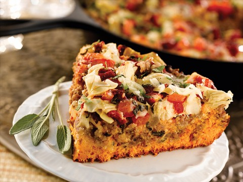 Roasted Red Pepper, Sage and Sausage Cornbread