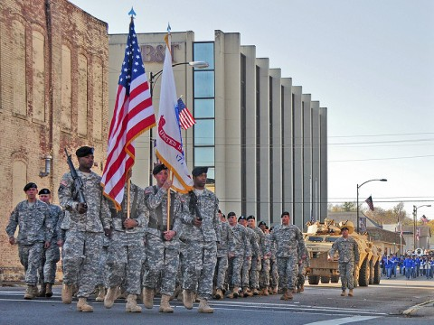 Strike Soldiers of the 2nd Brigade Special Troops Battalion, 2nd Brigade Combat Team, 101st Airborne Division (Air Assault), march in a parade honoring veterans past and present in downtown Hopkinsville, KY, Nov. 5th. The 68 Soldiers volunteered their Saturday morning to say thanks to the community and the area's veterans. (U.S. Army photo by Sgt. Joe Padula, 2nd BCT PAO, 101st Abn. Div.)