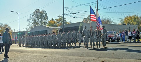 Strike Soldiers of the 2nd Brigade Special Troops Battalion, 2nd Brigade Combat Team, 101st Airborne Division (Air Assault), march in parade honoring veterans past and present in downtown Hopkinsville, KY, Nov. 5th. The 68 Soldiers volunteered their Saturday morning to say thanks to the community and the area's veterans. (U.S. Army photo by Sgt. Joe Padula, 2nd BCT PAO, 101st Abn. Div.)