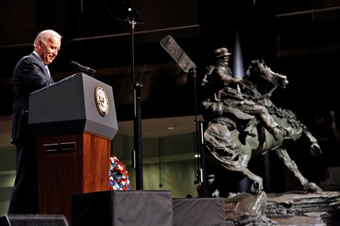 Vice President Joseph Biden addresses the audience during the dedication and unveiling ceremony for the De Oppresso Liber statue at the Winter Garden Hall in Two World Financial Center near Ground Zero, Nov. 11th, 2011. (Photo courtesy of Staff Sgt. Andrew Jacob)
