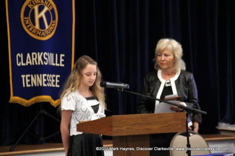 """Alayna Pike reads a part of her essay at the """"Interview A Veteran"""" Essay Contest Winners program Tuesday, November 8th 2011."""