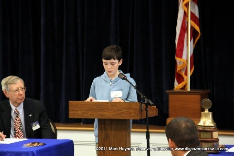 "Connor Haas reads a portion of his essay at the Kiwanis Club's ""Interview A Veteran"" Essay Contest Winners program Tuesday, November 8th 2011."