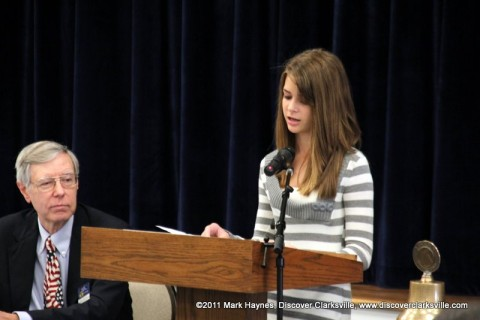 "Grace Hinson reads a part of her essay at the ""Interview A Veteran"" Essay Contest Winners program Tuesday, November 8th 2011."