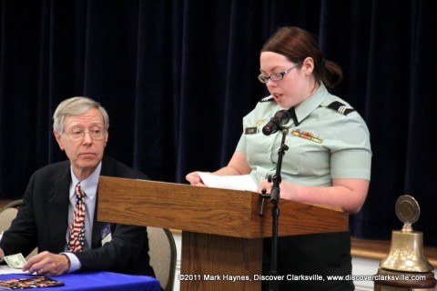 "Kayla Clark reads a small part of her essay at the ""Interview A Veteran"" Essay Contest Winners program Tuesday, November 8th 2011."