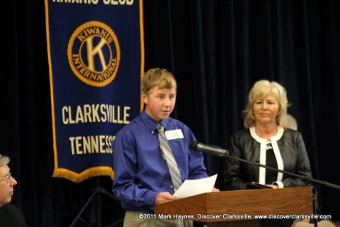 "Seth P. Sitter reads a small part of his essay at the ""Interview A Veteran"" Essay Contest Winners program Tuesday, November 8th 2011."