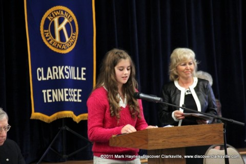 """Elizabeth Hickman reads a small part of her essay at the """"Interview A Veteran"""" Essay Contest Winners program Tuesday, November 8th 2011."""