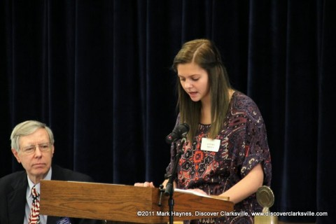 """Autumn Brown reads a part of her essay at the """"Interview A Veteran"""" Essay Contest Winners program Tuesday, November 8th 2011."""