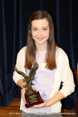 """Skyler Johnson received the Most Heroic award at the Clarksville Kiwanis Club's Memories of Service and Sacrifice Project's """"Interview a Veteran"""" essay contest."""