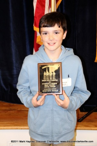 """Connor Haas received an award at the Clarksville Kiwanis Club's Memories of Service and Sacrifice Project's """"Interview a Veteran"""" essay contest."""