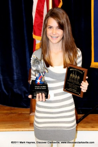 "Grace Hinson was the Middle School Division winner at the Clarksville Kiwanis Club's Memories of Service and Sacrifice Project's ""Interview a Veteran"" essay contest."