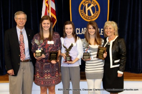 """Interview A Veteran"" Essay Contest. (L to R) Ron Smithfield; Autumn Brown, High School Division winner and Most Inspiring; Skyler Johnson, Most Heroic; Grace Hinson, Middle School Division winner; and Debbie McGaha Bratton, Essay Director."