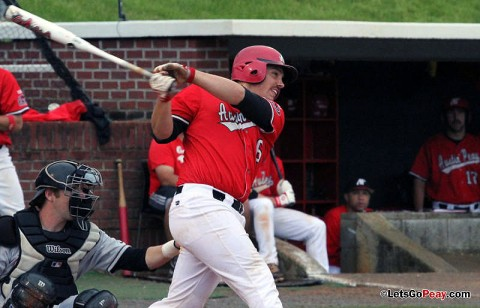 Matt Wollenzin's third inning RBI single provided the eventual game-winning run in the Black Team's 2-1 victory, Friday, in the opening game of the Red-Black World Series. APSU Baseball. (Courtesy: Austin Peay Sports Information)