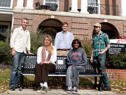 (Front row) Laura McClister, Raven Jackson, (back row) Chase Davenport, Charles Booth and Ryan Boyd will all read during the November 22nd Bread and Words Benefit at APSU. (Photo by Rian Barger/APSU Public Relations and Marketing)