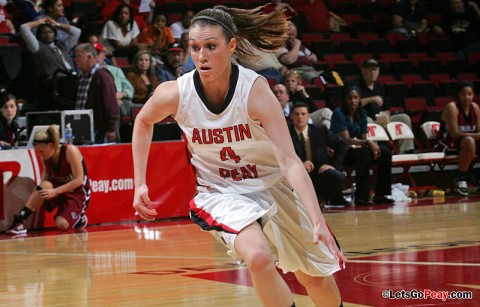 Freshman Kristen Stainback brings the ball upcourt againest Cumberland Monday November 7th. APSU Basketball. (Courtesy: Keith Dorris/Dorris Photography)