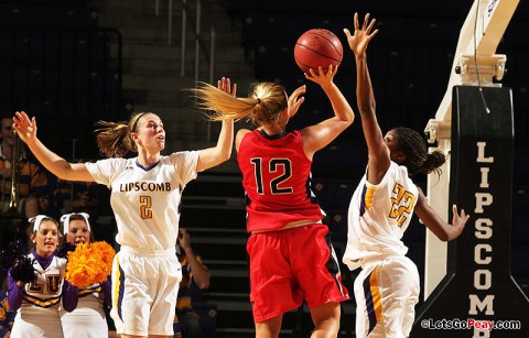 Senior Whitney Hanley scored her 1,000th career point in the Lady Govs victory, Monday, at Lipscomb. Austin Peay Basketball. (Courtesy: Austin Peay Sports Information)