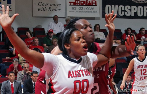 Senior Jasmine Rayner led the Lady Govs with 12 points and nine rebounds in Friday's loss to American. Austin Peay Basketball. (Courtesy: Austin Peay Sports Information)