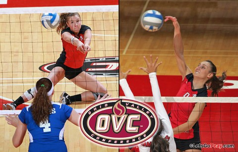 Paige Economos (left) and Nikki Doyle each were named to the All-OVC Volleyball Team, Wednesday. Austin Peay Volleyball. (Courtesy: Austin Peay Sports Information)