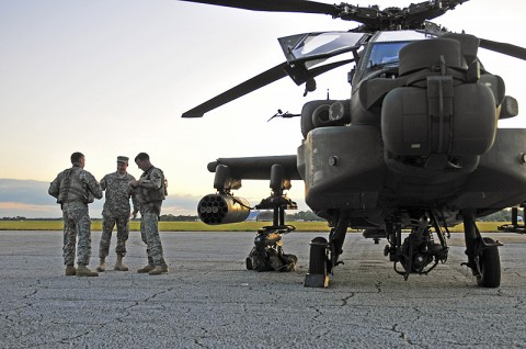 Lt. Col. William A. Ryan, 1st Battalion, 101st Combat Aviation Brigade commander shakes the hand of Chief Warrant Officer 2 Adam Marik, Headquarters and Headquarters Company, 1st Bn., 101st CAB Apache pilot before Marik's night operation during Jaded Thunder training exercise at MacDill Air Force Base, FL, Oct. 24th, 2011. The purpose of Jaded Thunder was to train on aviation tactics, techniques and procedures in a joint forces environment to prepare for the upcoming deployment. (Photo by Sgt. Tracy Weeden)