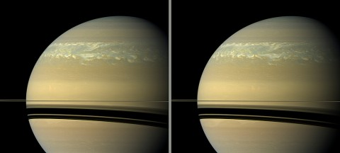 These two natural color views taken 11 hours -- one Saturn day -- apart by NASA's Cassini spacecraft help scientists measure wind speeds in the huge storm seen here in the planet's northern hemisphere. (Image credit: NASA/JPL-Caltech/Space Science Institute)