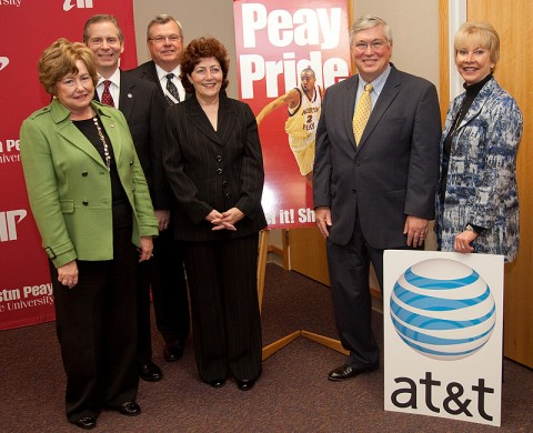 Launch of the PEG channel in Clarksville Tennessee. (Pictured from left to right: Montgomery County Mayor Carolyn Bowers; State Rep. Joe Pitts; State Rep. Curtis Johnson; Kathy Sager, AT&T; Timothy Hall, President Austin Peay State University; and Lanie Johnson, AT&T.)