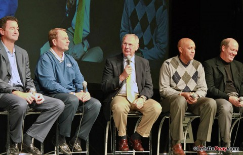 Head coach Dave Loos, center, talks at Tuesday morning's Coaches vs. Cancer Tipoff Breakfast. (Courtesy: Austin Peay Sports Information)
