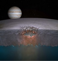 """Europa's """"Great Lake."""" Scientists speculate many more exist throughout the shallow regions of the moon's icy shell. (Britney Schmidt/Dead Pixel VFX/Univ. of Texas at Austin.)"""