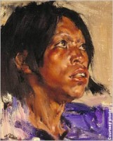 Indian Boy in Blue, Nicolai Fechin (1881–1955), oil on canvas, 16 3/16 x 13 inches, Stark Museum of Art, Orange, Texas, 31.28.25