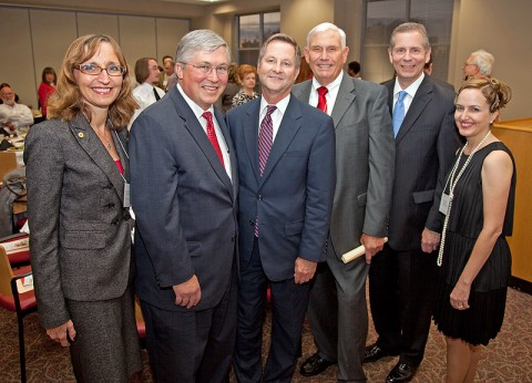 Associate professor of history Dr. Minoa Uffelman, APSU President Tim Hall, state Sen. Tim Barnes, former Tennessee secretary of state Riley Darnell, state Rep. Joe Pitts and PAT president Deanna Carter gather at the chapter's 50th anniversary celebration. (Photo by Beth Liggett/APSU Public Relations and Marketing).