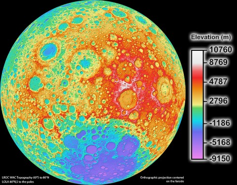 LROC WAC color shaded relief of the lunar farside. (Credit: NASA's Goddard Space Flight Center/DLR/ASU)