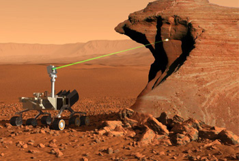 The ChemCam system uses a laser to take samples from as far as 23 feet away from the Curiosity rover.