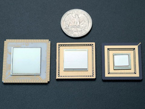 This picture shows three High Operating Temperature Infrared Sensors, mounted on leadless chip carriers. (Image Credit: NASA/JPL-Caltech)