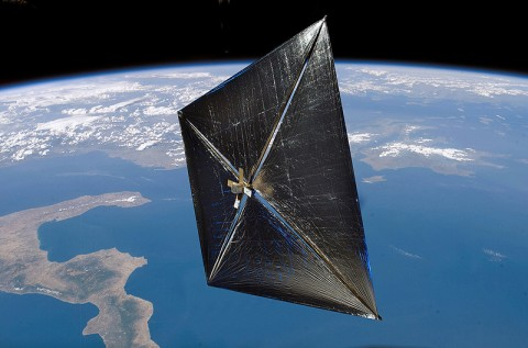 An artist concept of a solar sail in space. (Credit: NASA)