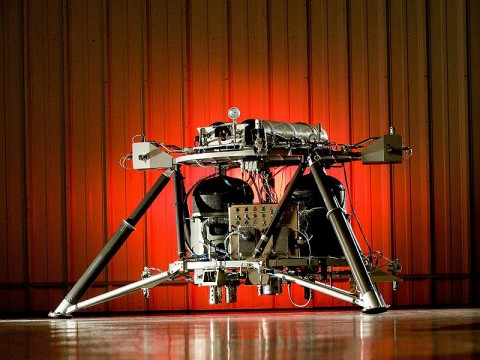 NASA engineers successfully integrated and completed system testing on a new robotic lander recently at Teledyne Brown Engineering's facility in Huntsville in support of the Robotic Lunar Lander Project at NASA's Marshall Space Flight Center in Huntsville, AL. The lander prototype will aid NASA's development of a new generation of small, smart, versatile landers for airless bodies such as the moon and asteroids. (Credit: NASA/David Higginbotham)