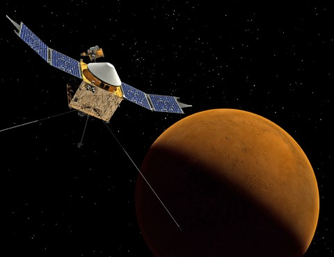 This artist's concept shows the MAVEN spacecraft orbiting Mars. (Credit: NASA/Goddard Space Flight Center)