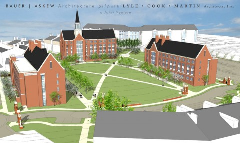 A drawing of Phase II construction of three new residence halls and Austin Peay's first residential mall.