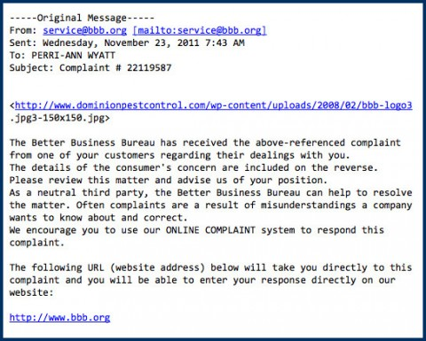 A copy of the actual scam e-mail.