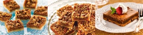 (L to R) Praline Pumpkin Pie Bars, Pecan Pie Squares and Chocolate Fudge Pie Bars.