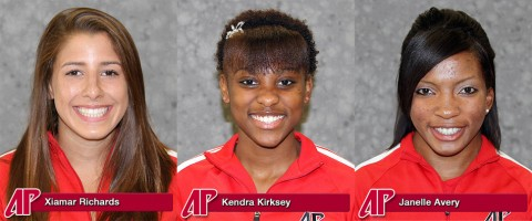 Sophomore Xiamar Richards, sophomore Kendra Kirksey and senior Janelle Avery. Austin Peay Cross Country. (APSU Sports Information)