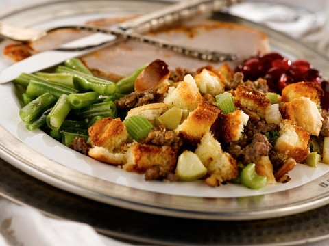 Sausage Cornbread Dressing with Apples and Pecans