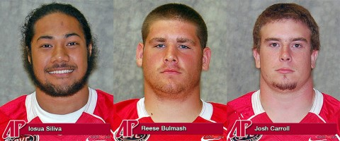 Defensive linemen Iosua Siliva, Reese Bulmash and linebacker Josh Carroll. APSU Football. (APSU Sports Information)