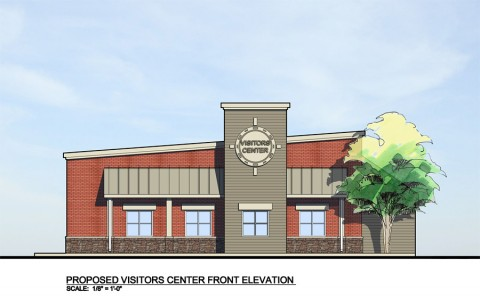 Rendering of Welcome Center front elevation.