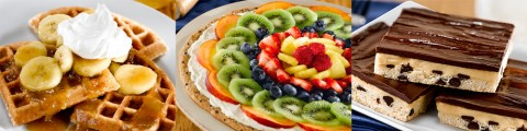 Bananas Foster Waffles, Fruit Pizza and Peanut Butter Bar recipes.