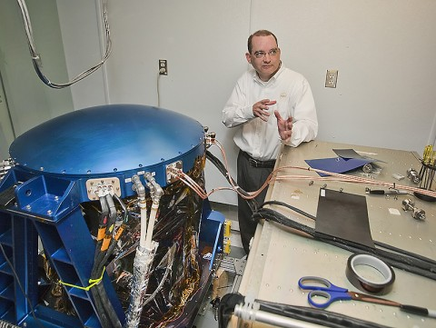 Grady Koch explains how the DAWN instrument measures offshore wind speed and direction. (Credit: Sean Smith/NASA)