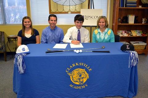 Kelsey, Brent, Zach and Karen Nussbaumer on signing day. Clarksville Academy.
