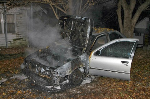 Nissan Sentra caught on fire early Friday morning. (Photo by CPD-Jim Knoll)