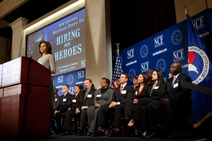"First Lady Michelle Obama delivers remarks to business leaders, veterans and military spouses as part of her Joining Forces initiative, at the U.S. Chamber of Commerce's 4th Annual ""Business Steps Up: Hiring Our Heroes"" event in Washington, D.C., Nov. 10, 2011. (Official White House Photo by Lawrence Jackson)"