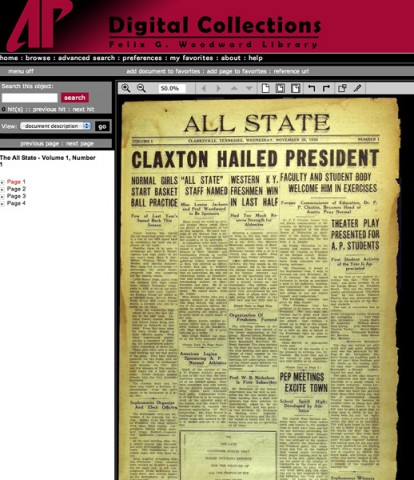 APSU Library Digital Collection of the student newspaper, The All State.