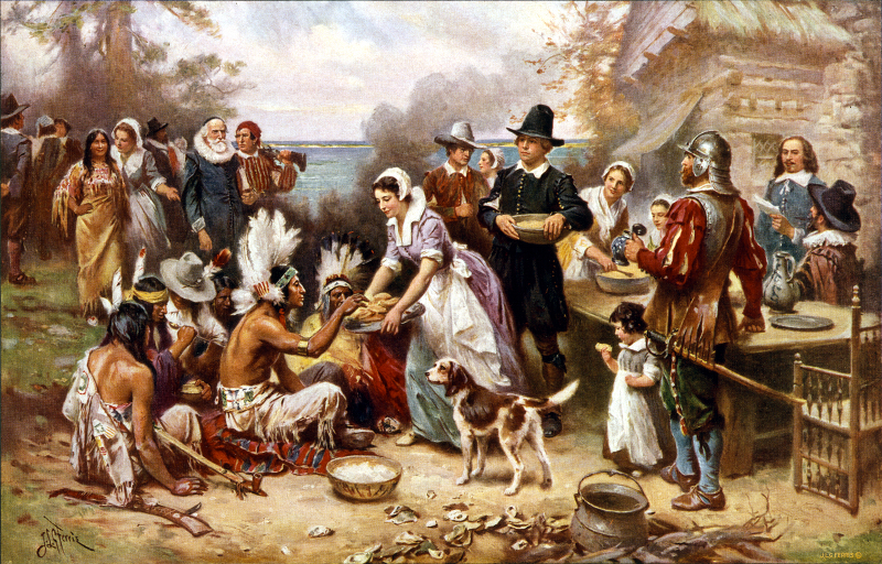 The First Thanksgiving 1621 by Ferris, J.L.G. from the Cleveland: Foundation Press, 1932. From Library of Congress Prints and Photographs Online Catalog.