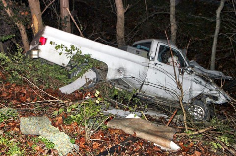 A 1977 Chevy pickup went down an embankment off Ashland City road Wednesday morning. (Photo by CPD – Jim Knoll)
