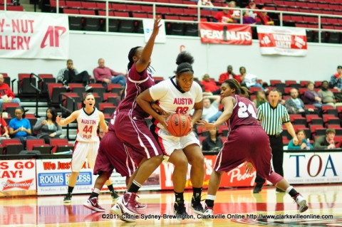Jasmine Rayner goes up for two of her 21 points in the Lady Govs' 80-68 to Alabama A&M on Dec. 21st, 2011.
